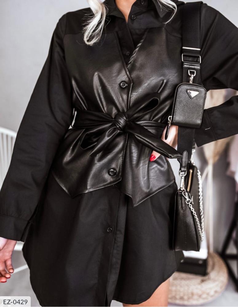 Платье-Рубашка с корсетом из эко кожи EZ-0425 черный