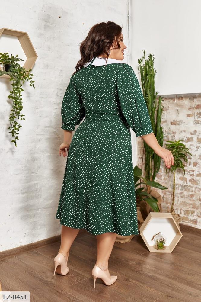 Платье с белым воротником EZ-0448 зеленый