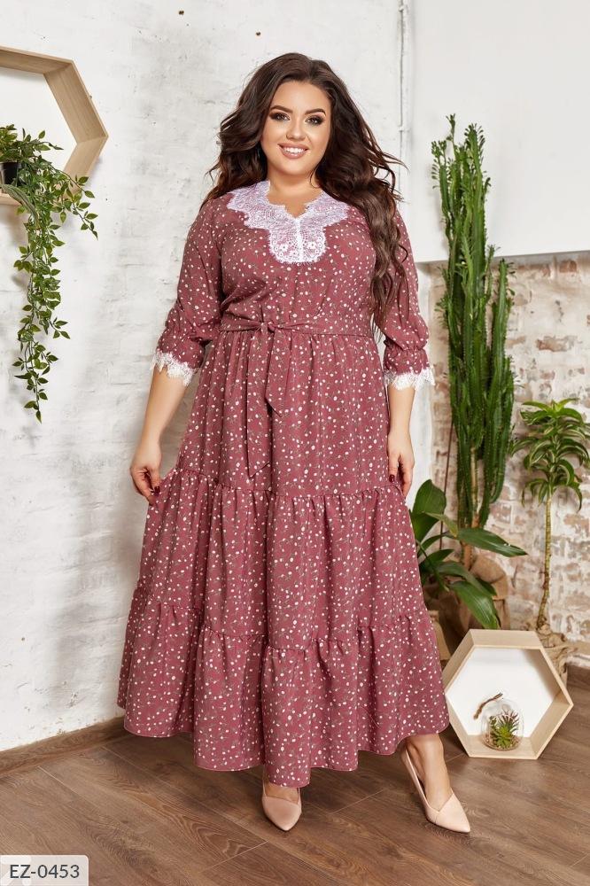 Платье марси со вставками кружева  EZ-0453 фрез