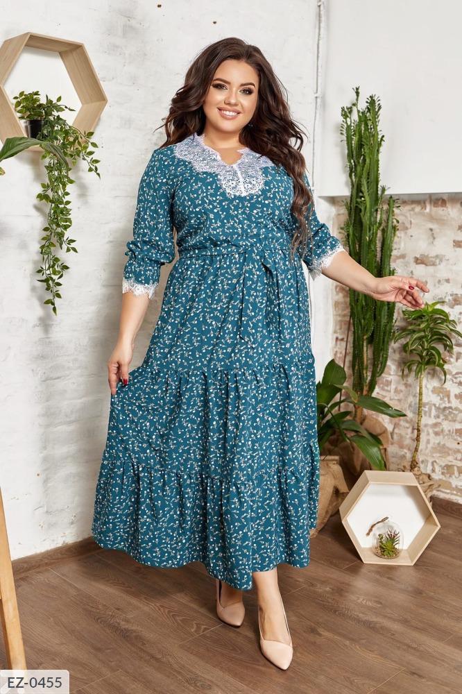 Платье марси со вставками кружева  EZ-0453 бирюза