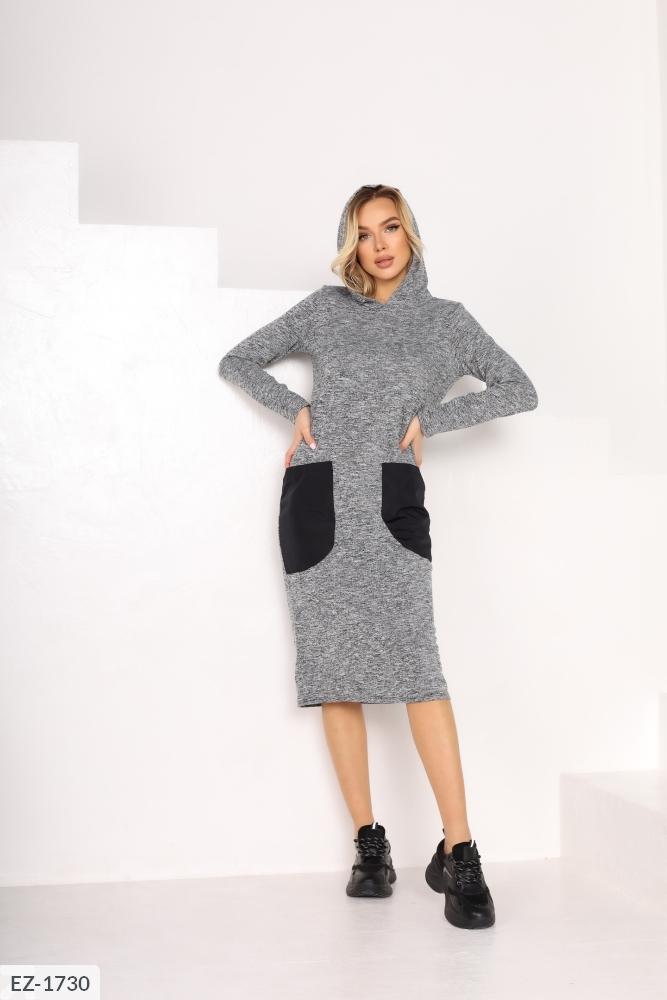 Платье с накладными карманами EZ-1730 серый