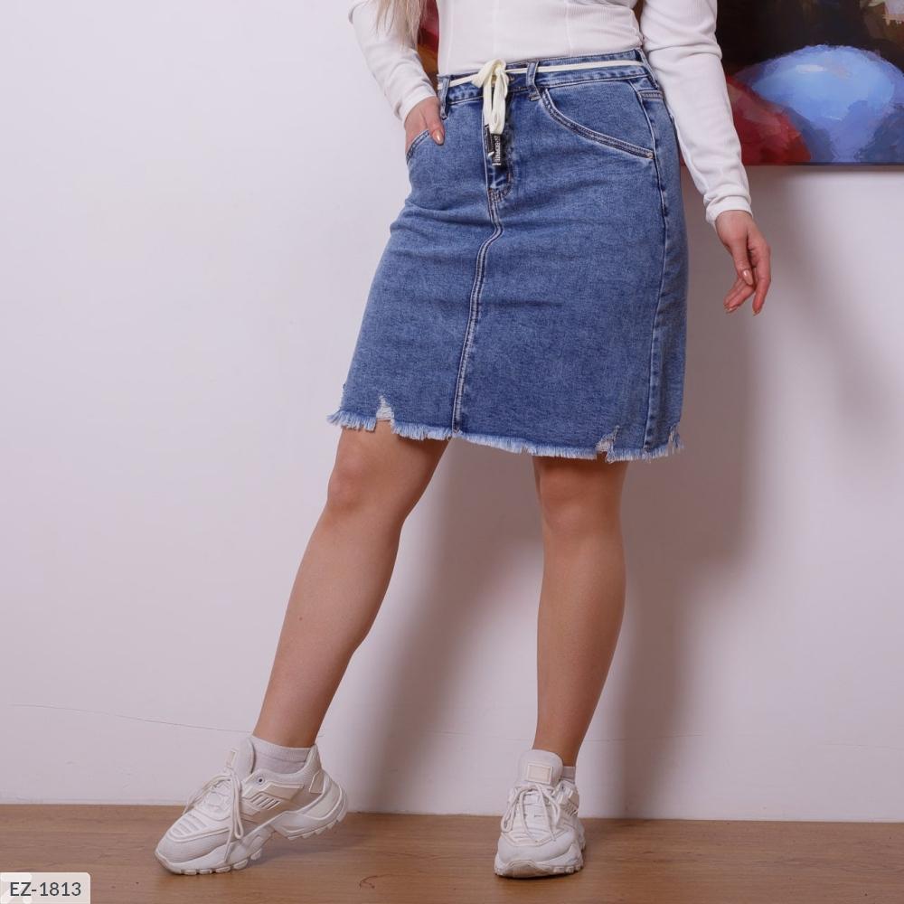 Юбка джинсовая с карманами EZ-1813 синий