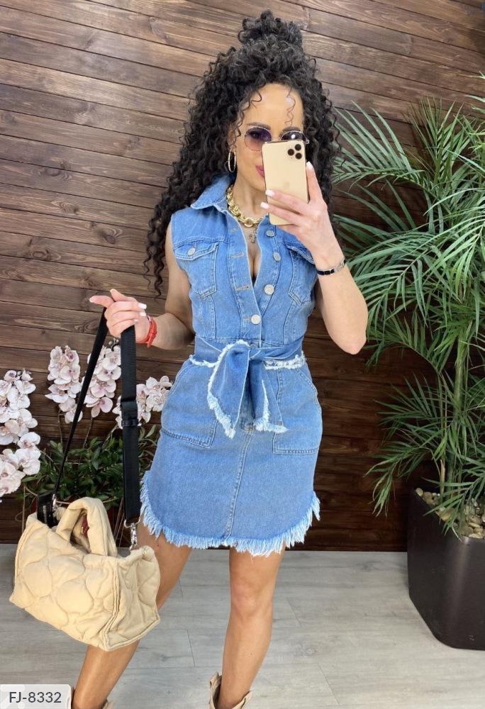 Платье  джинсовое с поясом FJ-8332 голубой