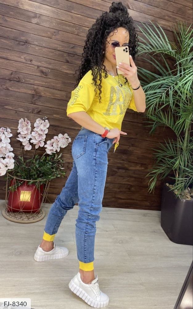 Костюм футболка + джинсы FJ-8337 желтый