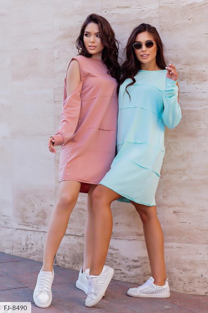 Платье — туника с открытыми плечами FJ-8490 беж