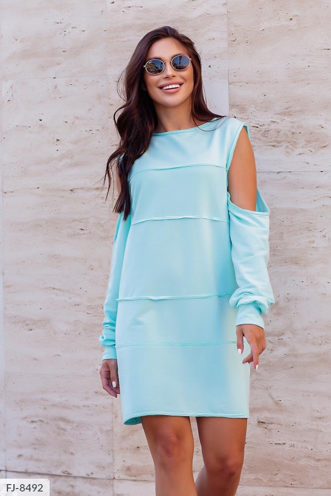 Платье — туника с открытыми плечами FJ-8490 минт