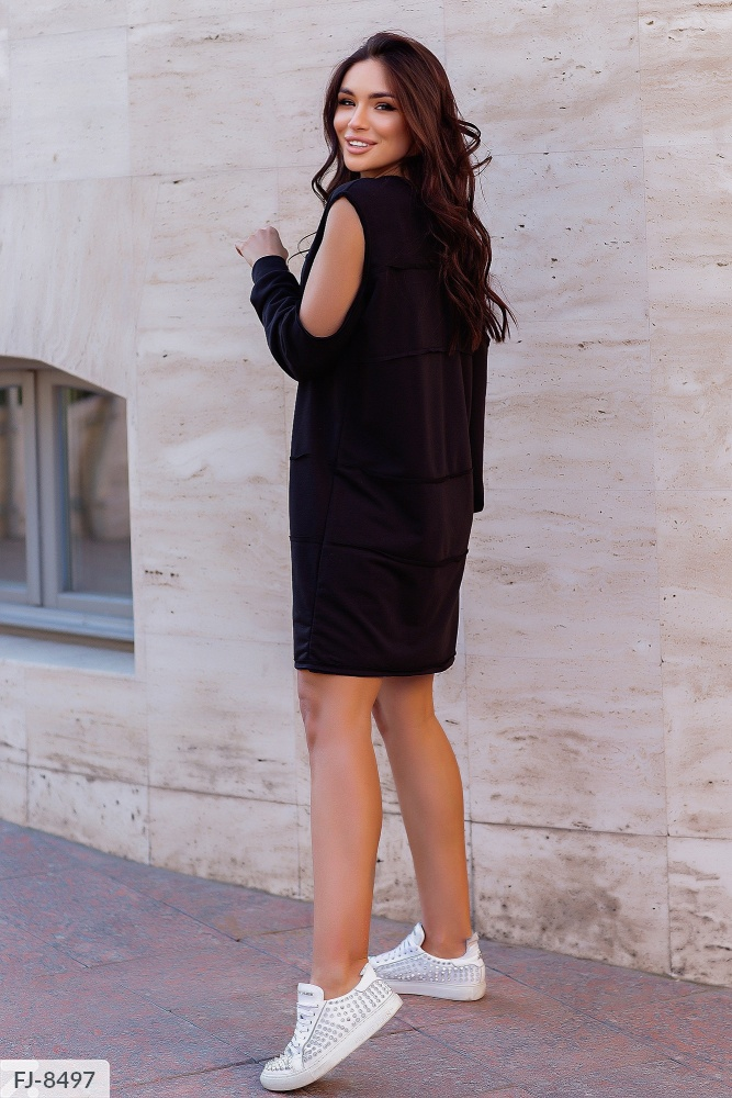 Платье — туника с открытыми плечами FJ-8490 черный