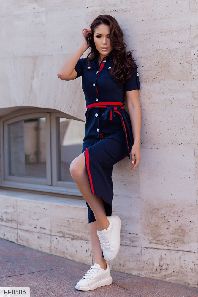 Платье миди из джинс-коттона на пуговицах FJ-8505 темносиний