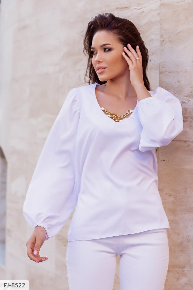Блузка свободного кроя с цепочками FJ-8517 белый