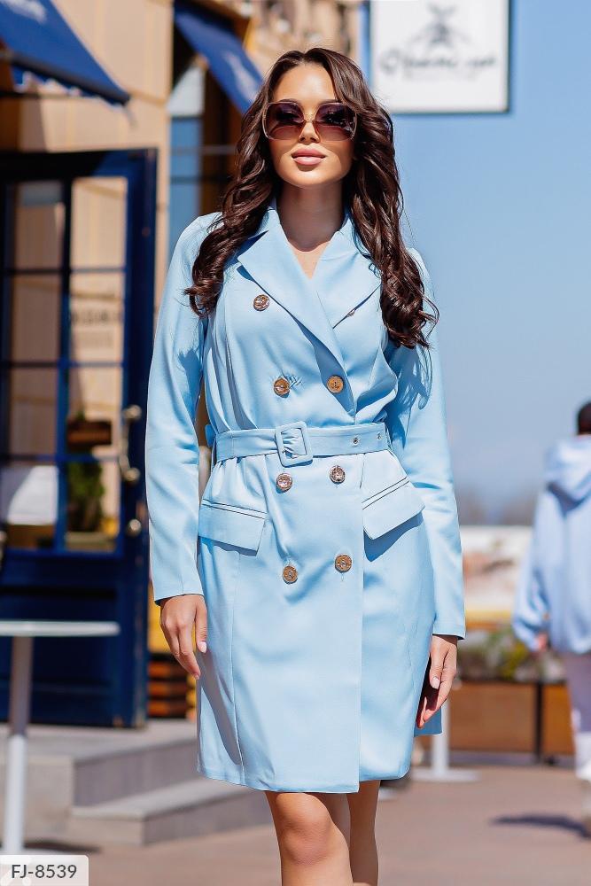 Платье — пиджак приталенного силуэта FJ-8539 голубой