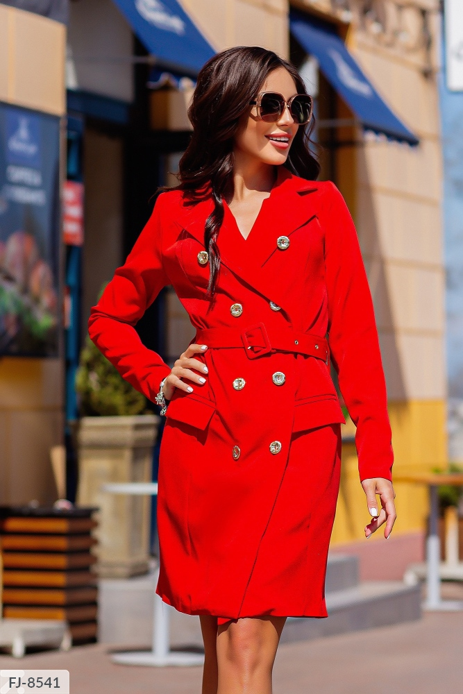 Платье — пиджак приталенного силуэта FJ-8539 красный