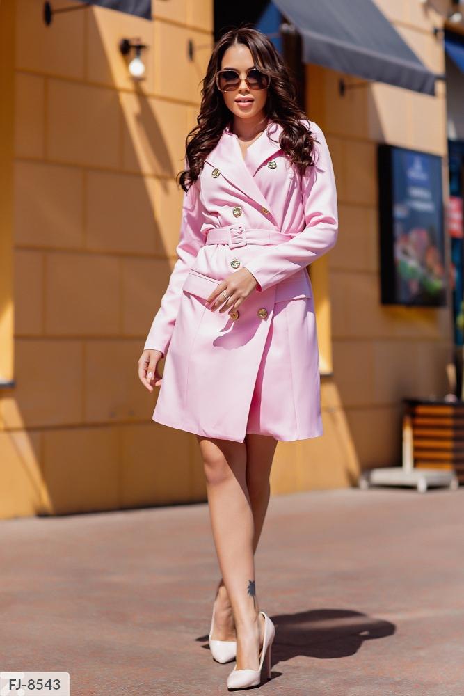 Платье — пиджак приталенного силуэта FJ-8539 пудра