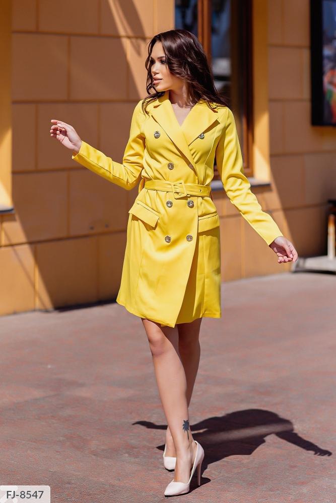 Платье — пиджак приталенного силуэта FJ-8539 желтый