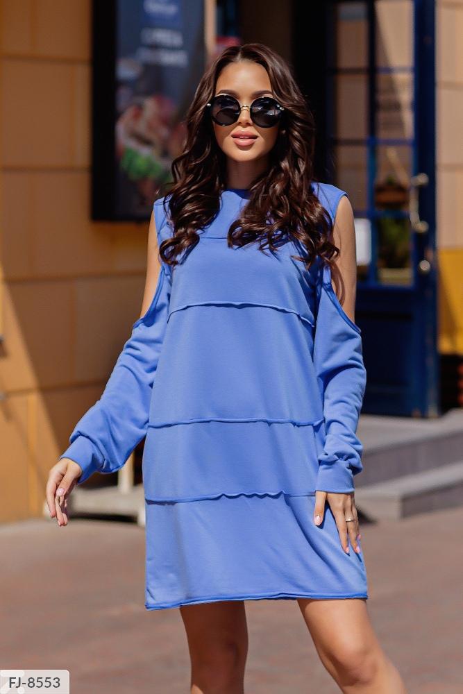Платье — туника с открытыми плечами FJ-8490 джинс