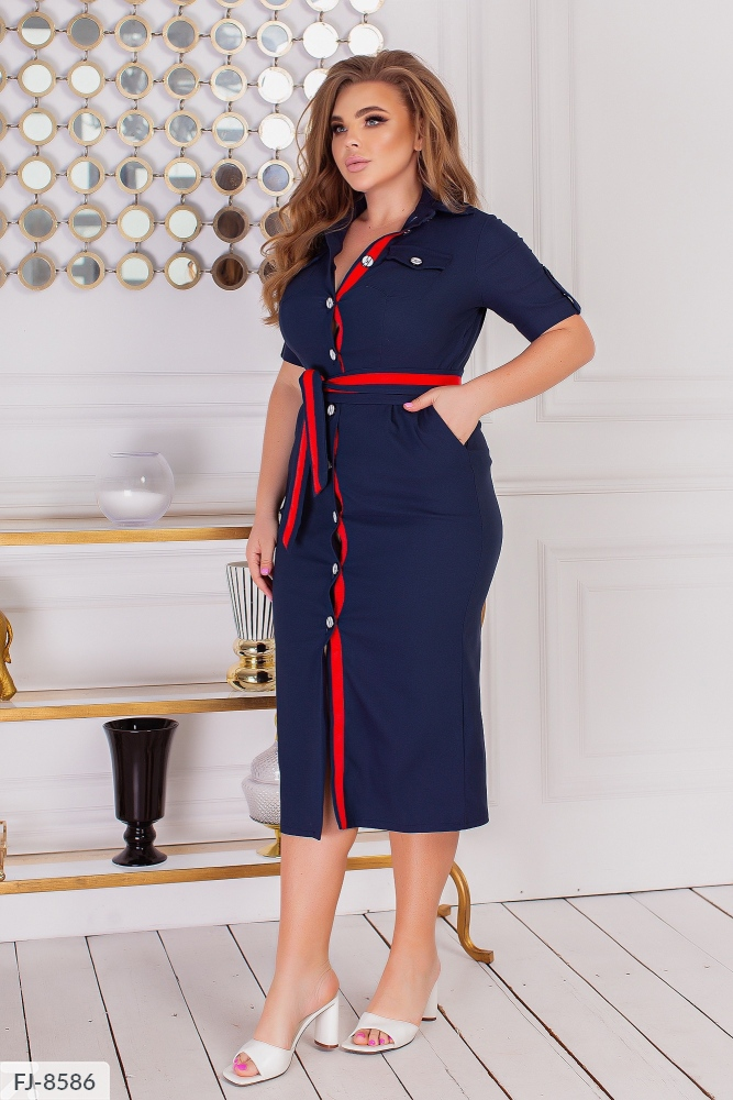 Платье миди из джинс-коттона на пуговицах FJ-8505 синий