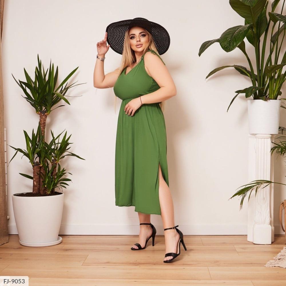 Платье с разрезами на юбке FJ-9040 зеленый