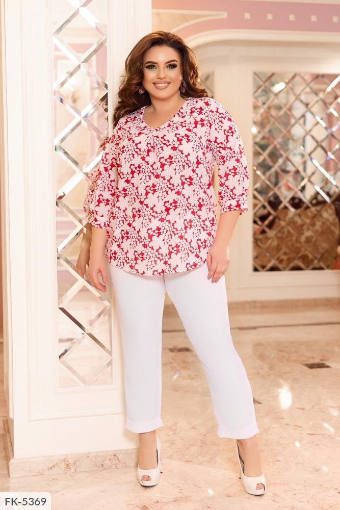 Костюм принтованная блуза + брюки FK-5369 красный