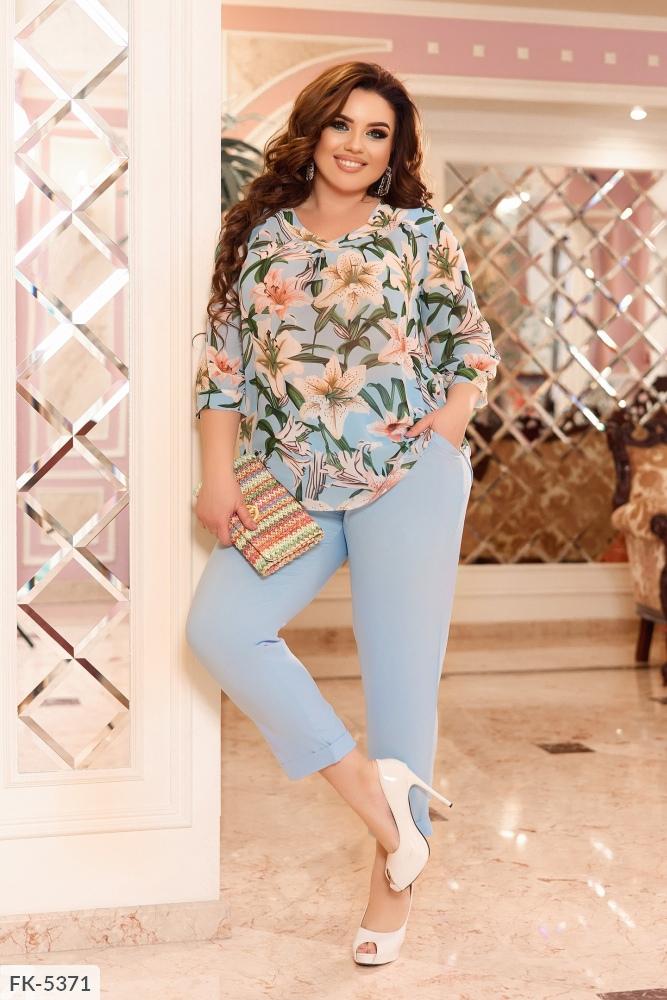 Костюм блуза с цветочным принтом + брюки FK-5371 голубой