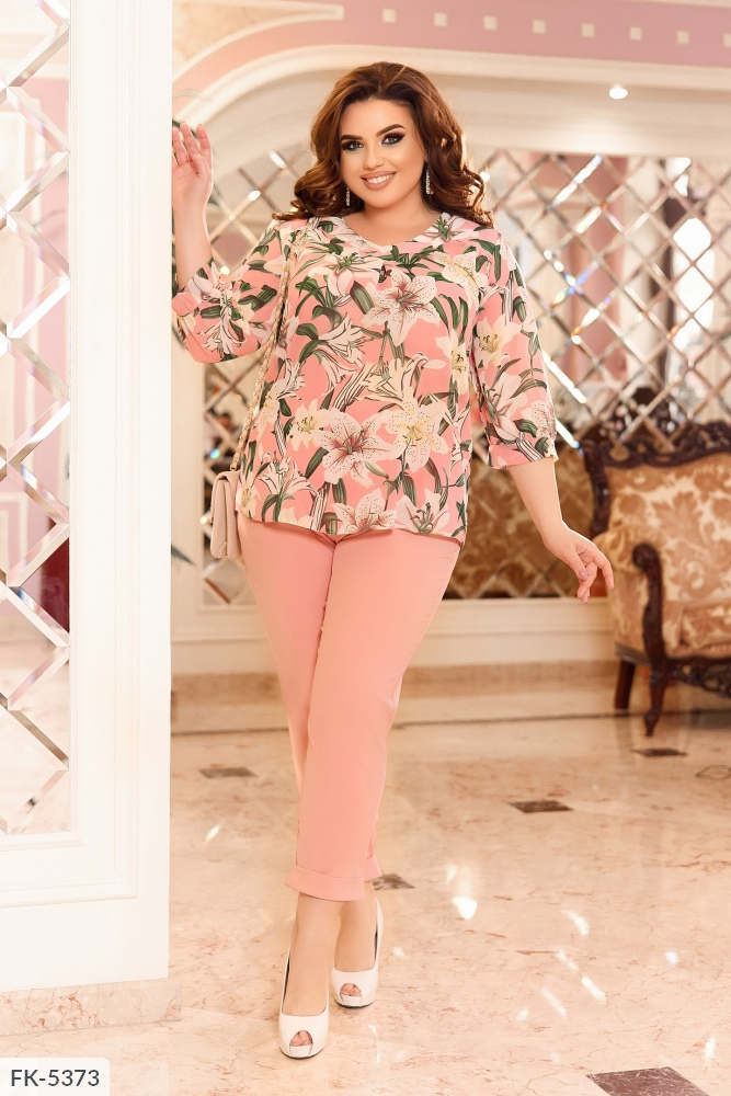 Костюм блуза с цветочным принтом + брюки FK-5371 пудра