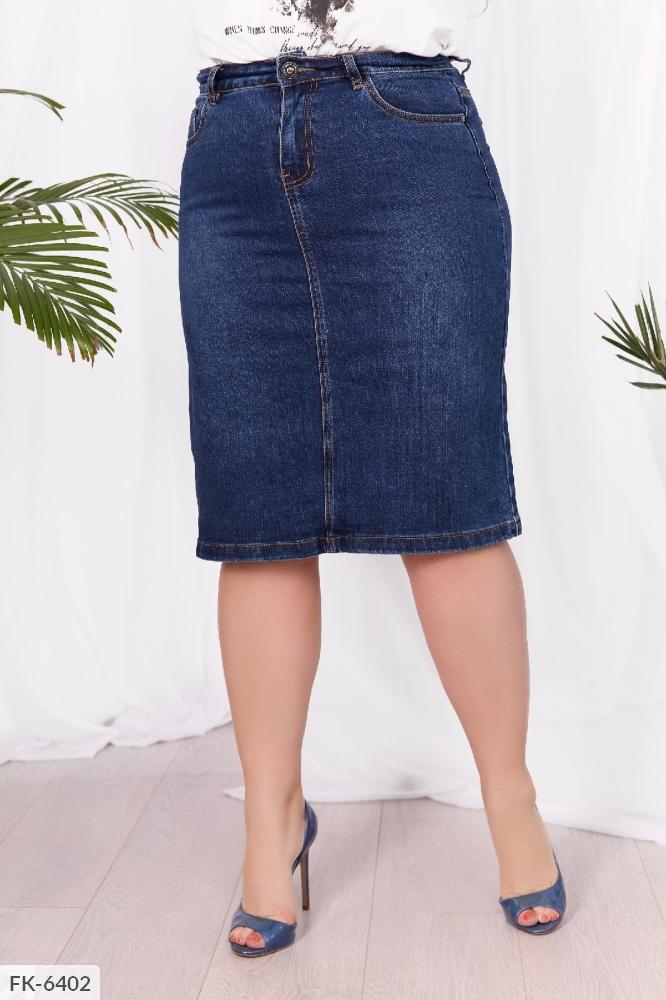 Юбка джинсовая стрейч FK-6402 синий