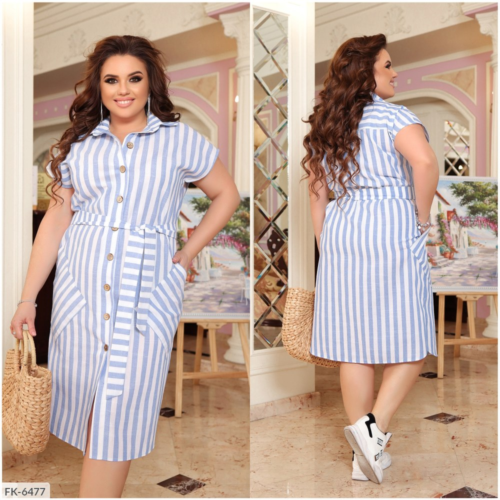 Платье — рубашка из льна FK-6475 голубой