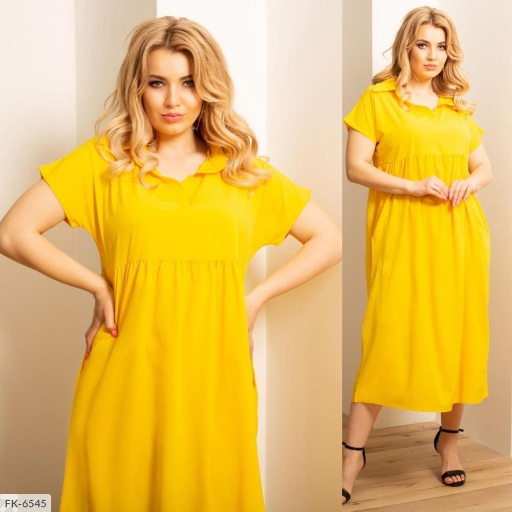 Платье оверсайз из софта FK-6544 желтый