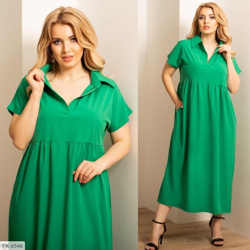 Платье оверсайз из софта FK-6544 зеленый