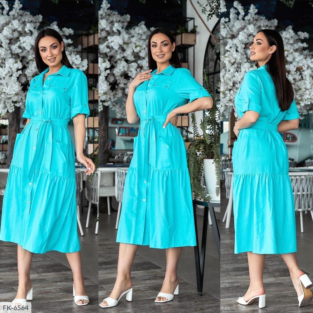 Платье на пуговицах с пояском FK-6564 бирюза