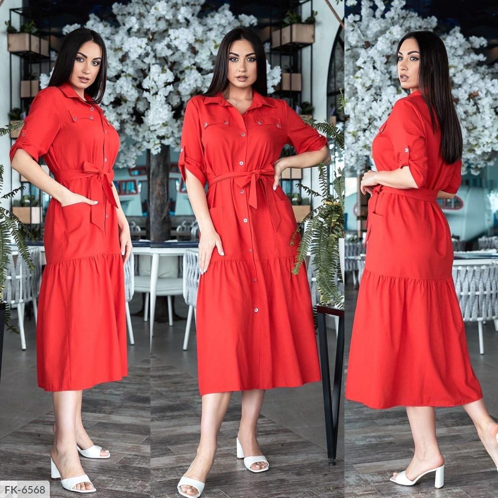 Платье на пуговицах с пояском FK-6564 красный