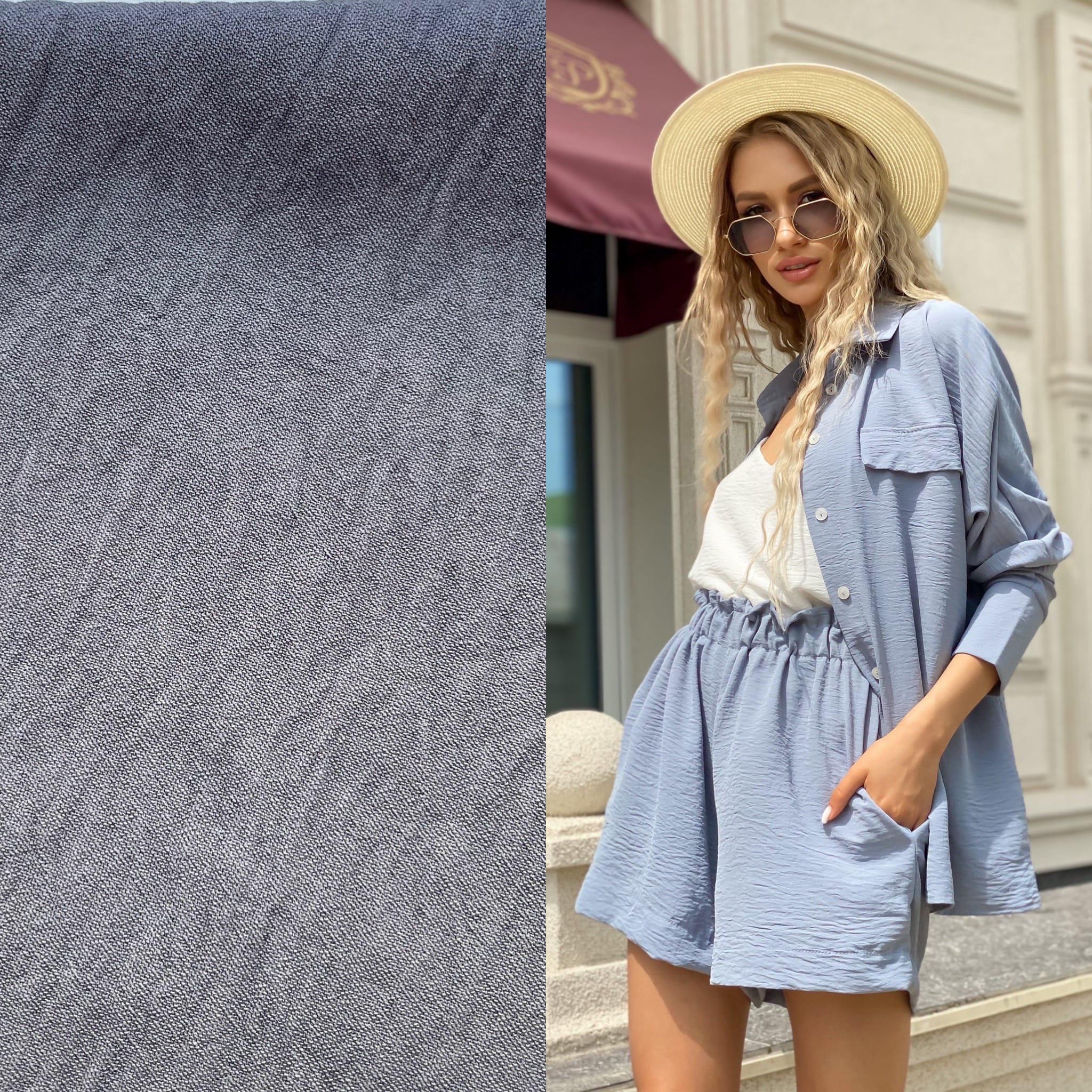 Костюм тройка шорты топ рубашка Ря406 серый