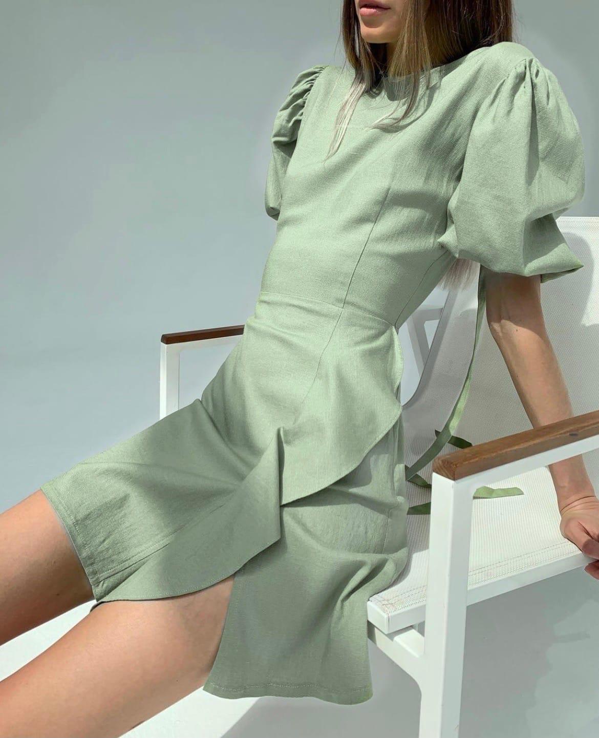 Платье Ря411 оливка