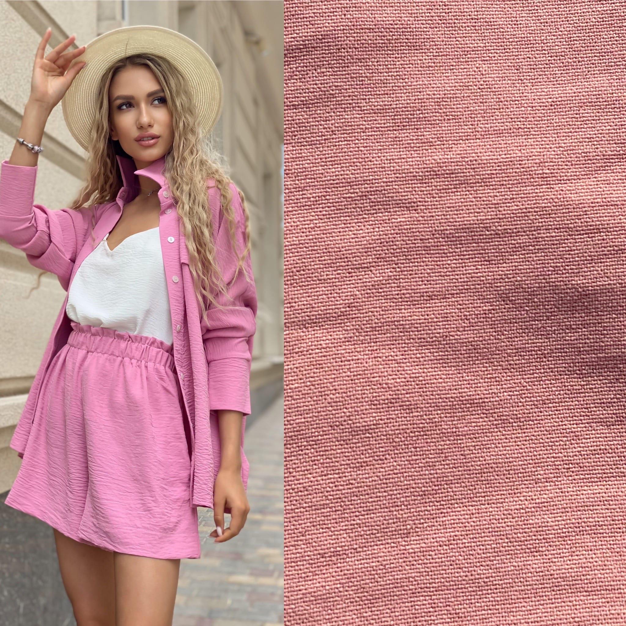 Костюм тройка шорты топ рубашка Ря406 розовый
